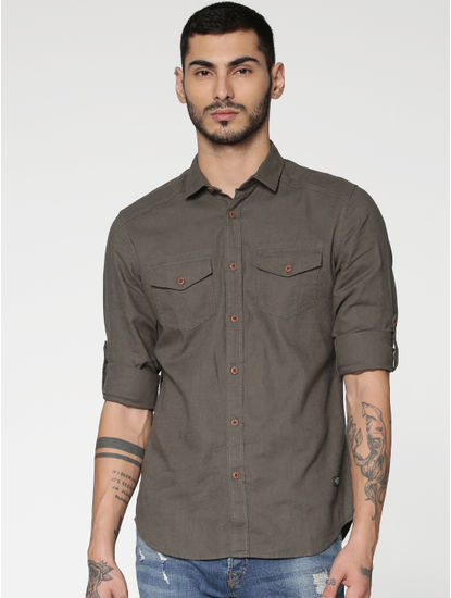 Green Washed Effect Slim Fit Full Sleeves Shirt