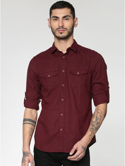 Red Front Patch Pockets Slim Fit Full Sleeves Shirt