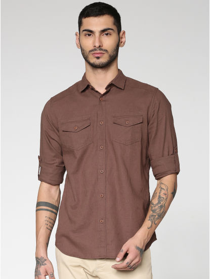 Brown Front Patch Pockets Slim Fit Full Sleeves Shirt