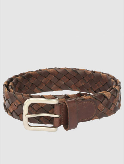 Brown Pleated Leather Belt