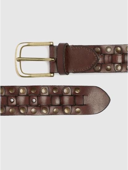 Brown Studded Pleated Leather Belt