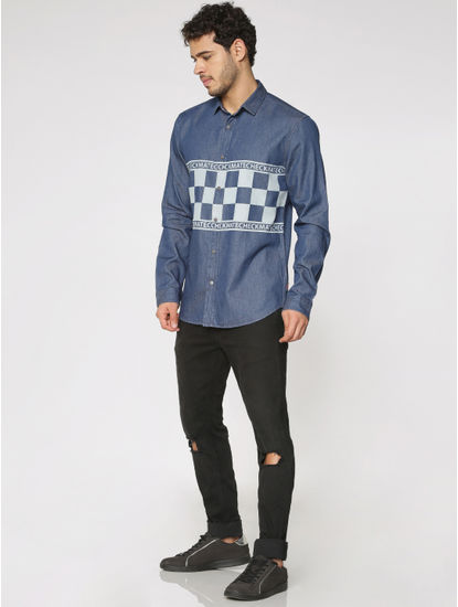 Blue Text and Graphic Print Slim Fit Full Sleeves Denim Shirt