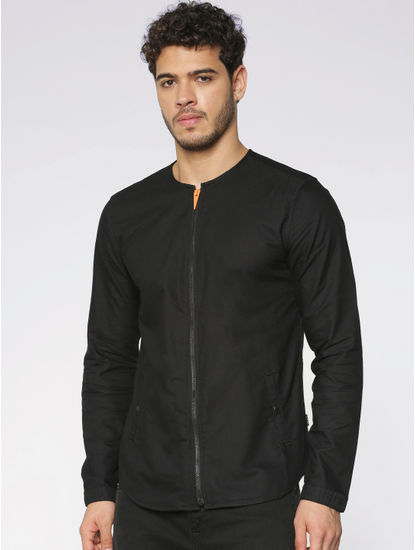 Black Front Zip Up Slim Fit Full Sleeves Overshirt