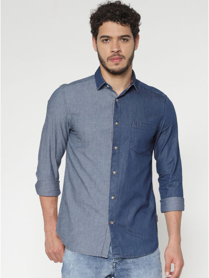Blue Colour Blocked Slim Fit Denim Full Sleeves Shirt
