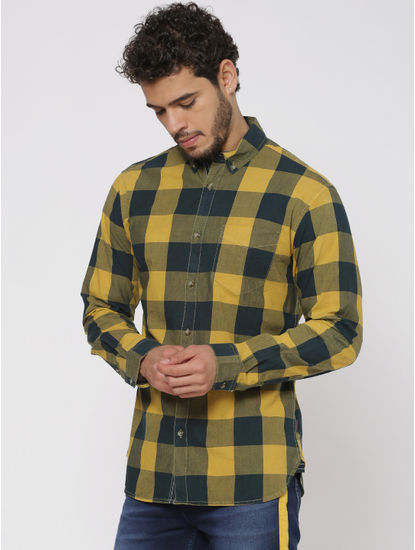 Yellow Checks Regular Fit Full Sleeves Shirt