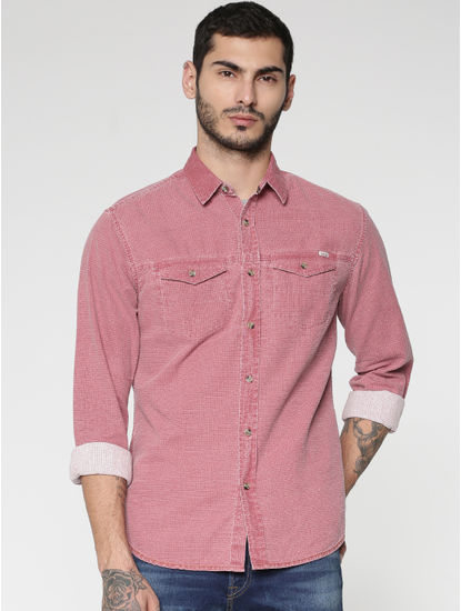 Red Textured Washed Effect Regular Fit Full Sleeves Shirt