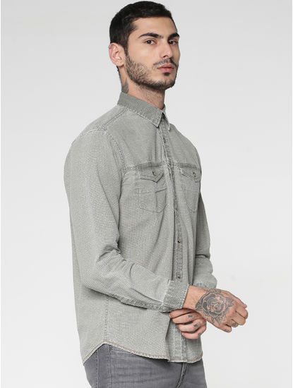 Green Textured Washed Effect Regular Fit Full Sleeves Shirt