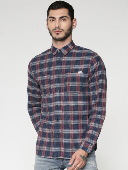 Blue Checks Patch Pocket Slim Fit Full Sleeves Shirt
