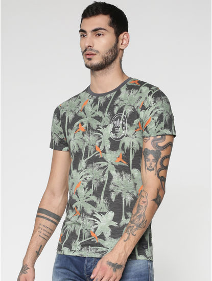 Grey All Over Palm Tree Print Slim Fit Crew Neck T-shirt