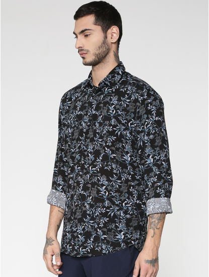 Grey All Over Floral Print Slim Fit Full Sleeves Shirt