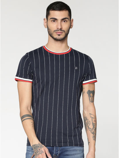 Blue Striped Contrasting Sleeve and Collar Tipping Crew Neck T-shirt