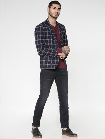 Navy Blue Check Single Button Slim Fit Blazer