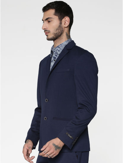 Navy Blue Double Button Slim Fit Blazer