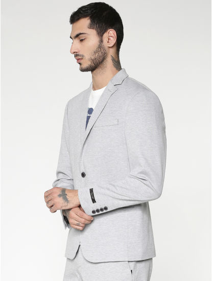 Light Grey Double Button Slim Fit Blazer