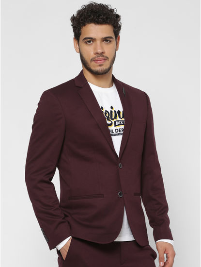 Burgundy Double Button Slim Fit Blazer