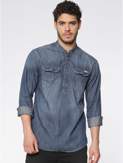 Blue Washed Effect Full Sleeves Denim Shirt