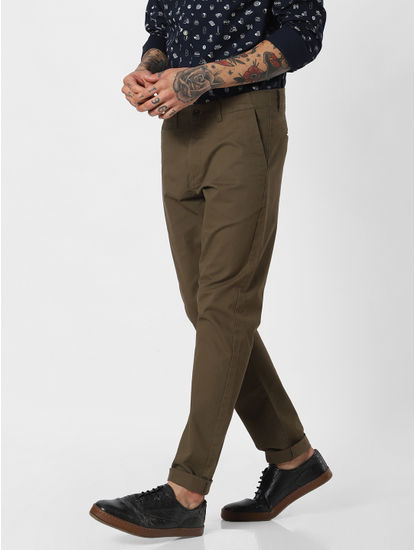Olive Green Mid Rise Pants