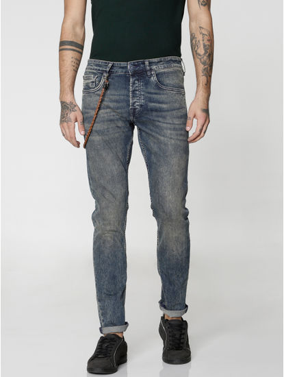 Blue Heavy Washed Glenn Slim Fit Jeans