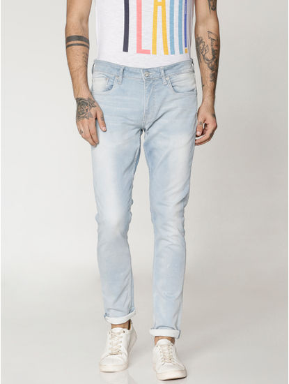 Light Blue Dobby Liam Skinny Fit Jeans
