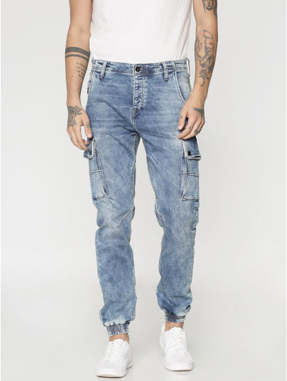 Light Blue Heavy Fade Multi Pockets Paul Anti Fit Jeans