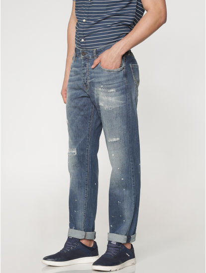 Blue Mildly Ripped And Distressed Washed Mike Regular Fit Jeans