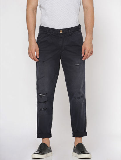 Navy Blue Ripped Distressed Anti Fit Pants
