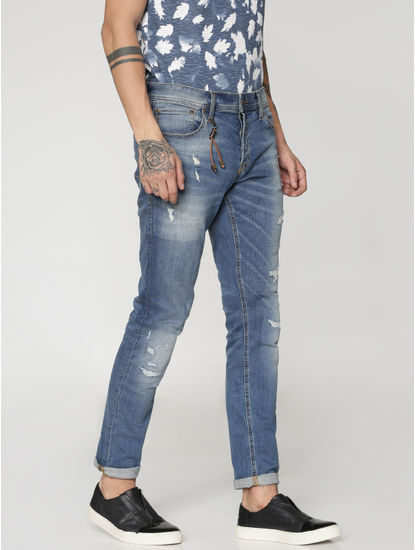 Blue Highly Distressed And Ripped Glenn Slim Fit Jeans