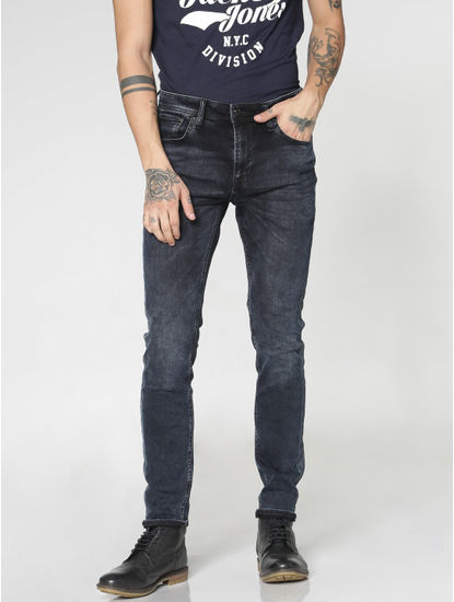 Dark Blue Washed Liam Skinny Fit Jeans