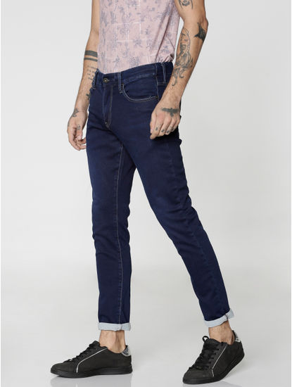 Blue Dobby Glenn Slim Fit Jeans