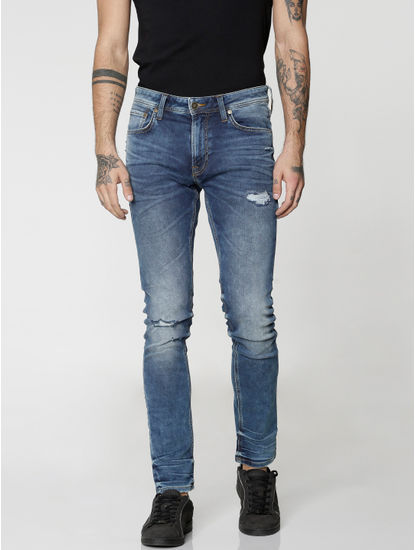 Blue Ripped Liam Skinny Fit Jeans