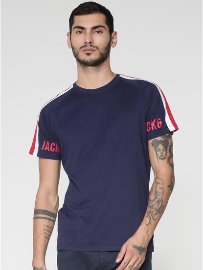 Blue Colour Blocked Sleeve Crew Neck T-shirt