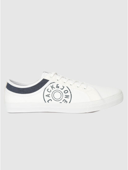 White Canvas Print Pu Sneakers