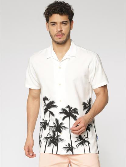 White Palm Tree Print Short Sleeves Shirt