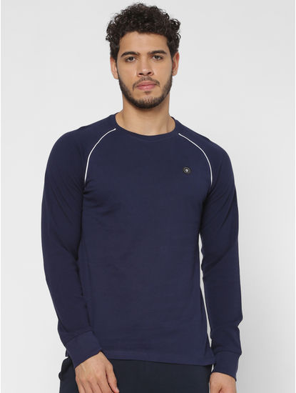Blue Crew Neck Full Sleeves T-shirt