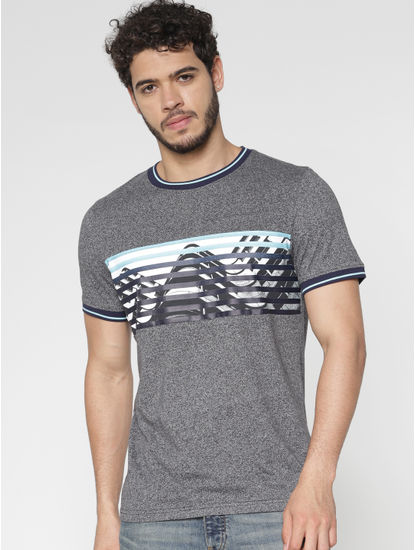 Grey Chest Printed Contrast Tipping Crew Neck T-Shirt