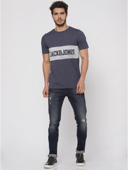 Blue Text Print Crew Neck T-Shirt