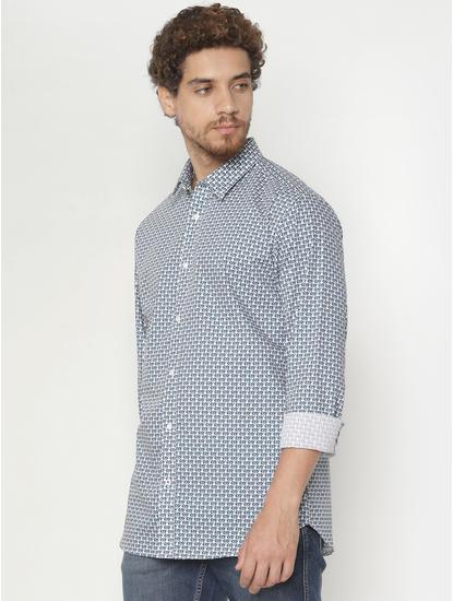Teal Printed Slim Fit Full Sleeves Shirt
