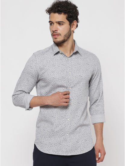 Grey All Over Print Slim Fit Full Sleeves Shirt