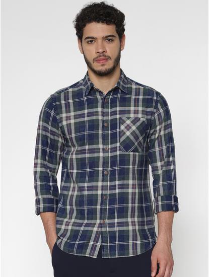 Green Multicoloured Checks Slim Fit Full Sleeves Shirt