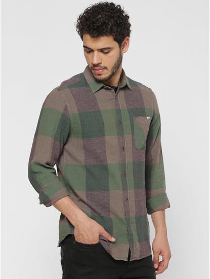 Green Checks Patch Pocket Slim Fit Full Sleeves Shirt