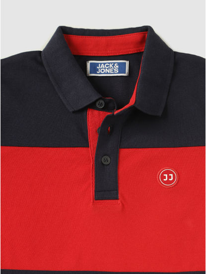 Junior Navy Blue Colour Blocked Polo Neck T-Shirt