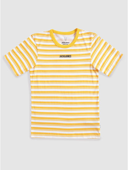 Junior Yellow and White Striped Crew Neck T-shirt