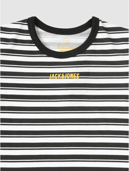 Junior Black And White Striped Crew Neck T-Shirt