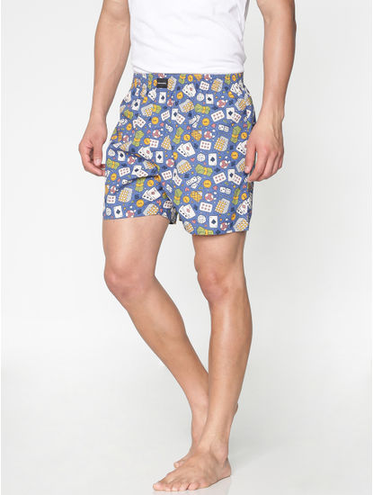 Blue All Over Casino Graphic Print Boxers