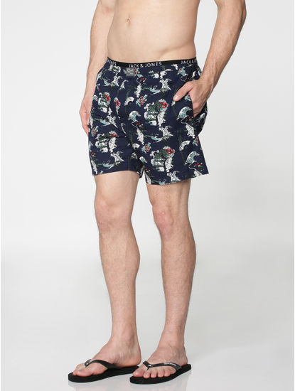 Navy Blue All Over Japan Tiger Graphic Print Boxers