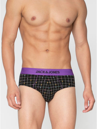 Black Square Checks Print Briefs