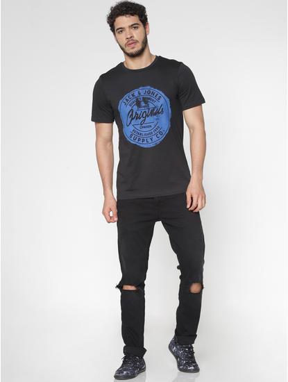 Black Chest Print Slim Fit Crew Neck T-Shirt