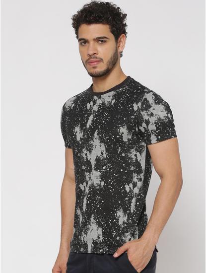 Black Abstract Print Slim Fit Crew Neck T-shirt