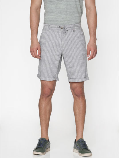 Grey Striped Drawstring Chino Shorts