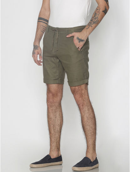 Green Drawstring Chino Shorts